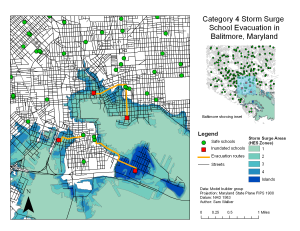 This map shows areas of Baltimore, Maryland, vulnerable to a category 4 storm surge and the school evacuation routes in event of such an emergency,