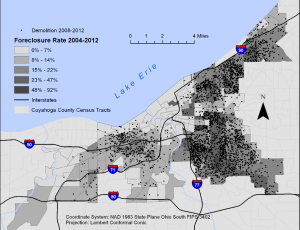 Foreclosure rate and housing demolitions, Cleveland, Ohio, 2004-2012