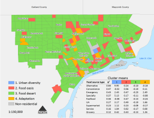 Cluster analysis of food access by 2010 census tract, Detroit, Michigan