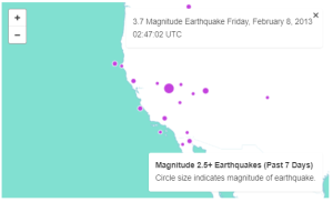 This is a screenshot of an embeddable web map showing live data from USGS earthquake activity dataset.