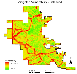 This map shows the results of a socio-environmental vulnerability analysis for invasion by buffelgrass in the Sonoran Desert of Tucson, Arizona.